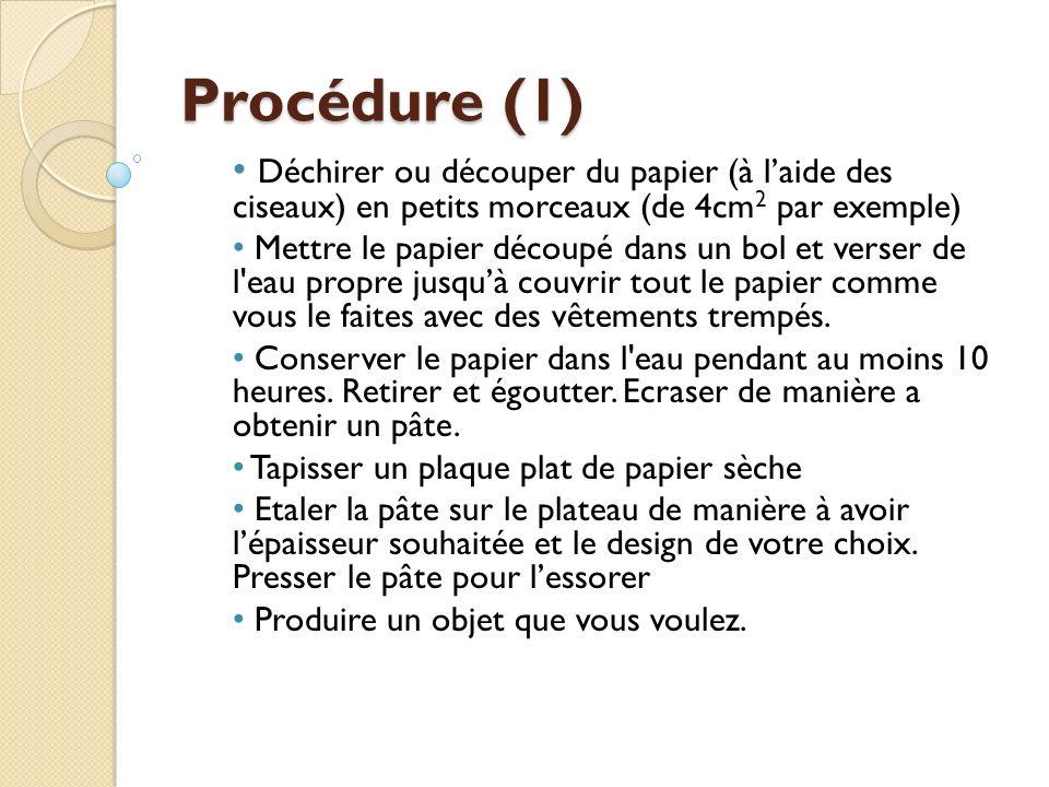 Procédure (1) Déchirer ou découper du papier (à laide des ciseaux) en petits morceaux (de 4cm 2 par exemple) Mettre le papier découpé dans un bol et v