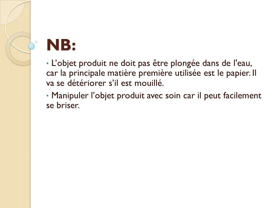 NB: Lobjet produit ne doit pas être plongée dans de l eau, car la principale matière première utilisée est le papier.