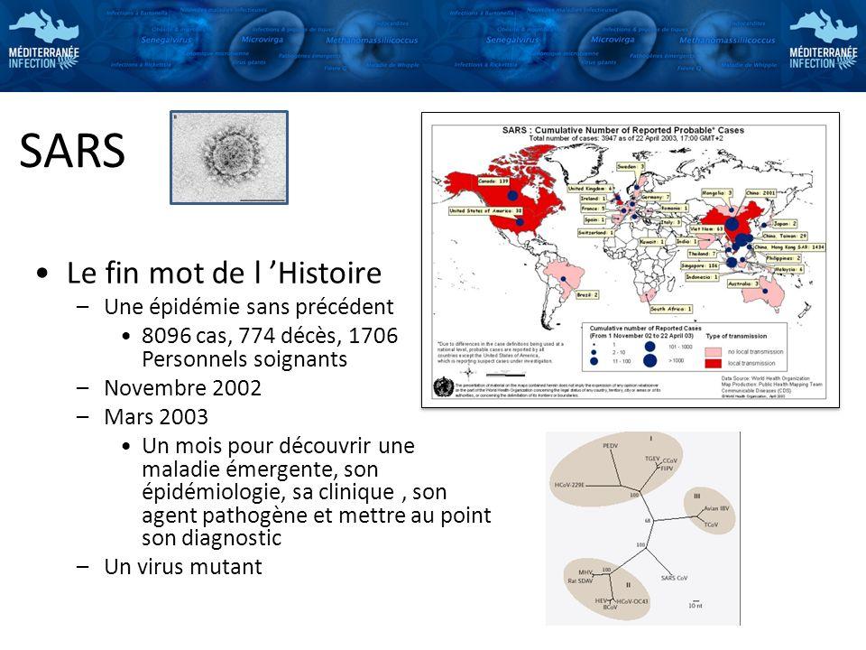 SARS Le fin mot de l Histoire –Une épidémie sans précédent 8096 cas, 774 décès, 1706 Personnels soignants –Novembre 2002 –Mars 2003 Un mois pour décou