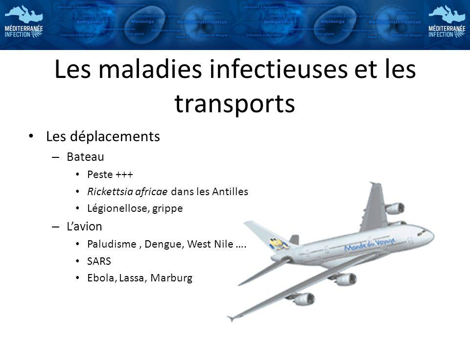 Les maladies infectieuses et les transports Les déplacements – Bateau Peste +++ Rickettsia africae dans les Antilles Légionellose, grippe – Lavion Pal