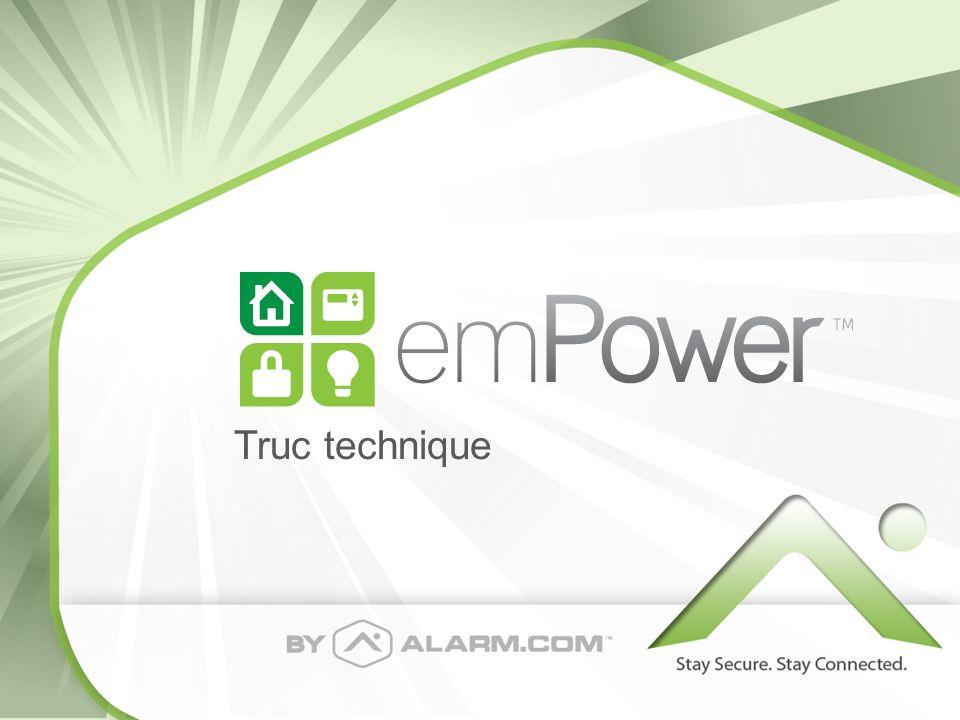 Commencer avec emPower Rentrer votre nouveau module Z- Wave sur Alarm.com suivant la même procédure quavant: – Rajouter un module sur un compte existant, sur le site de Alarm.com/Dealer Alarm.com/Dealer – Effectuer un test GSM au panneau 2GIG Rajouter un nouveau plan incluant la caractéristique Z-Wave Add-on