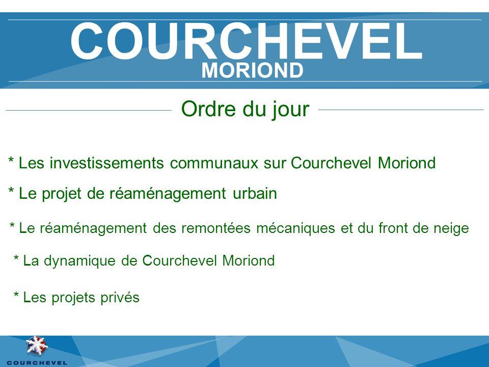 Ordre du jour * Les investissements communaux sur Courchevel Moriond * Le projet de réaménagement urbain * Le réaménagement des remontées mécaniques e