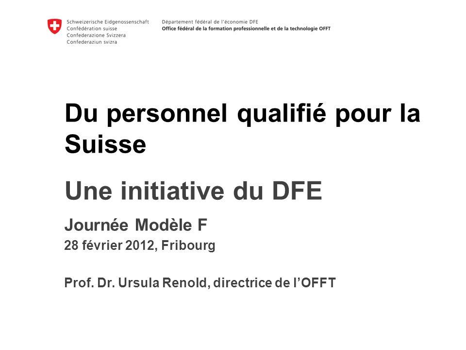 Du personnel qualifié pour la Suisse k Une initiative du DFE Journée Modèle F 28 février 2012, Fribourg Prof.