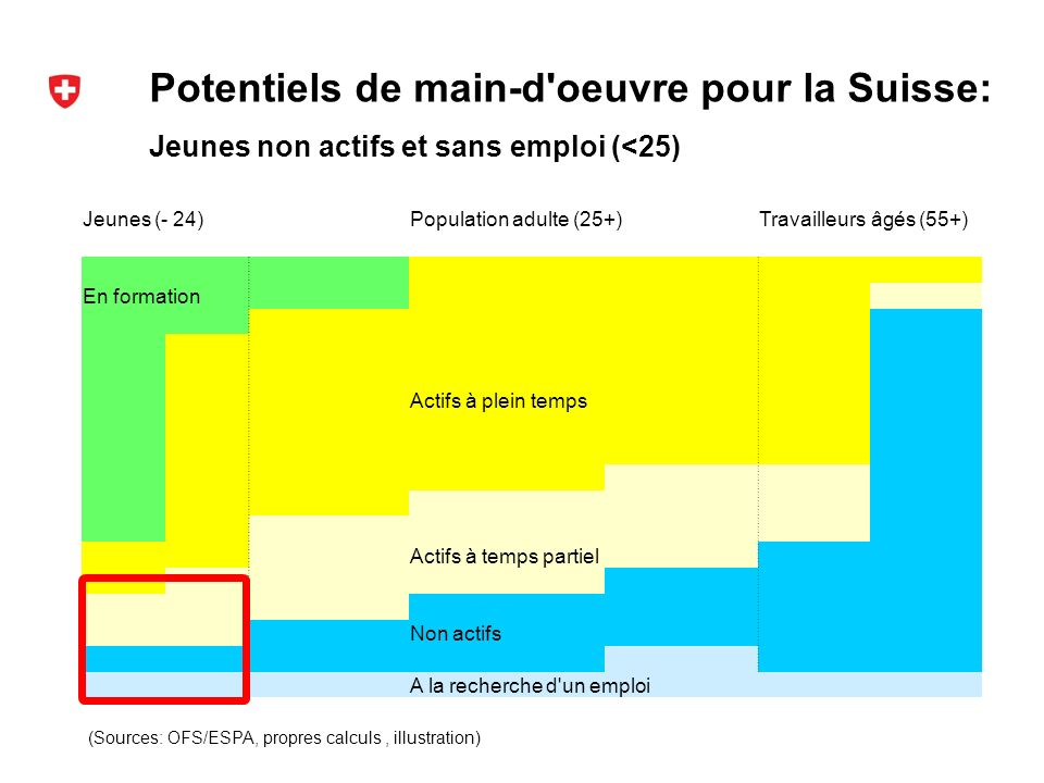 Potentiels de main-d oeuvre pour la Suisse: (Sources: OFS/ESPA, propres calculs, illustration) Jeunes non actifs et sans emploi (<25) Jeunes (- 24)Population adulte (25+)Travailleurs âgés (55+) En formation Actifs à plein temps Actifs à temps partiel Non actifs A la recherche d un emploi