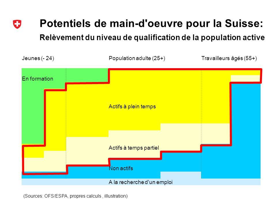Potentiels de main-d oeuvre pour la Suisse: (Sources: OFS/ESPA, propres calculs, illustration) Relèvement du niveau de qualification de la population active Jeunes (- 24)Population adulte (25+)Travailleurs âgés (55+) En formation Actifs à plein temps Actifs à temps partiel Non actifs A la recherche d un emploi