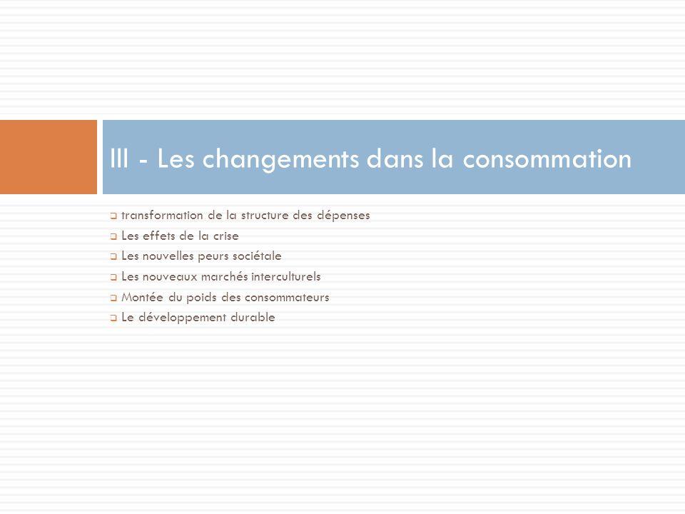 transformation de la structure des dépenses Les effets de la crise Les nouvelles peurs sociétale Les nouveaux marchés interculturels Montée du poids des consommateurs Le développement durable III - Les changements dans la consommation