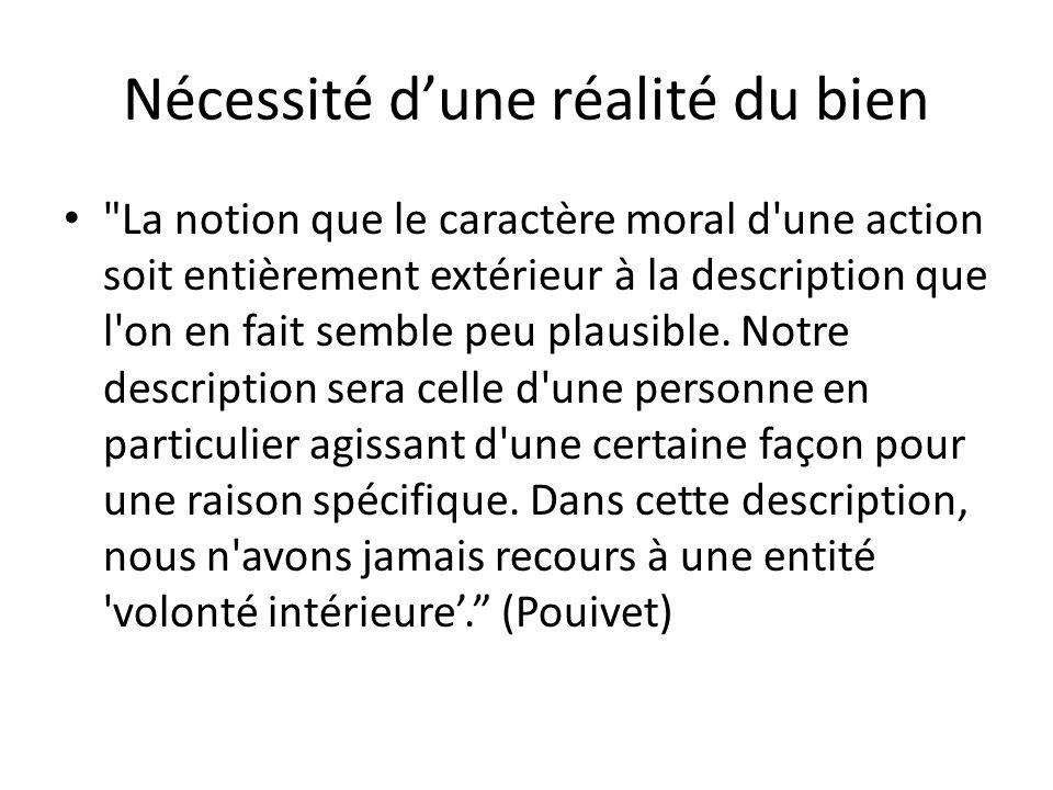 Nécessité dune réalité du bien La notion que le caractère moral d une action soit entièrement extérieur à la description que l on en fait semble peu plausible.