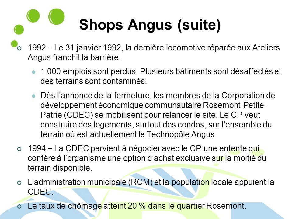 Shops Angus (suite) 1992 – Le 31 janvier 1992, la dernière locomotive réparée aux Ateliers Angus franchit la barrière.
