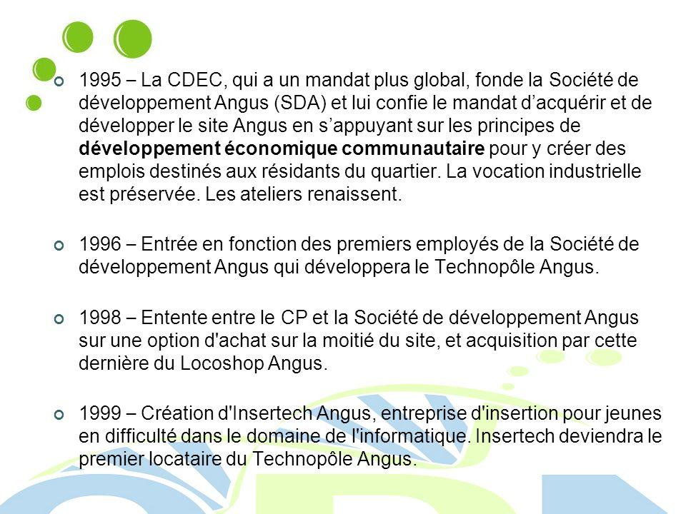 1995 – La CDEC, qui a un mandat plus global, fonde la Société de développement Angus (SDA) et lui confie le mandat dacquérir et de développer le site Angus en sappuyant sur les principes de développement économique communautaire pour y créer des emplois destinés aux résidants du quartier.