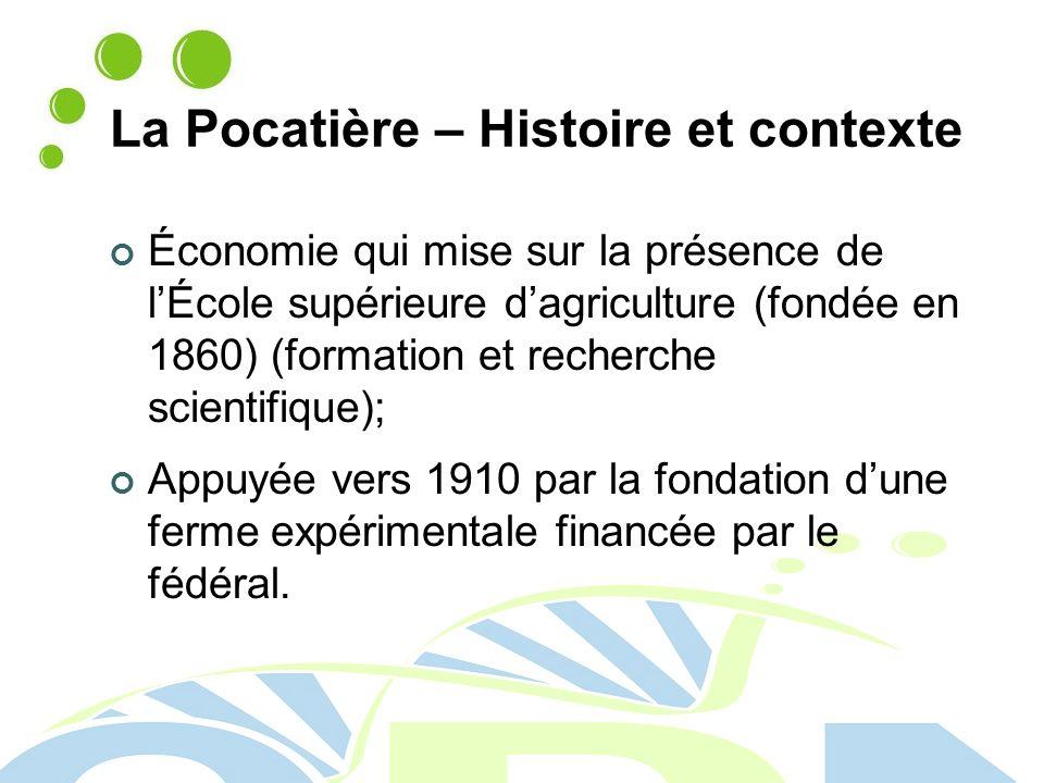 La Pocatière – Histoire et contexte Économie qui mise sur la présence de lÉcole supérieure dagriculture (fondée en 1860) (formation et recherche scientifique); Appuyée vers 1910 par la fondation dune ferme expérimentale financée par le fédéral.