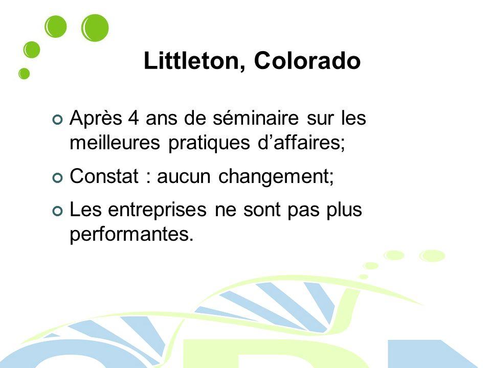 Littleton, Colorado Après 4 ans de séminaire sur les meilleures pratiques daffaires; Constat : aucun changement; Les entreprises ne sont pas plus performantes.