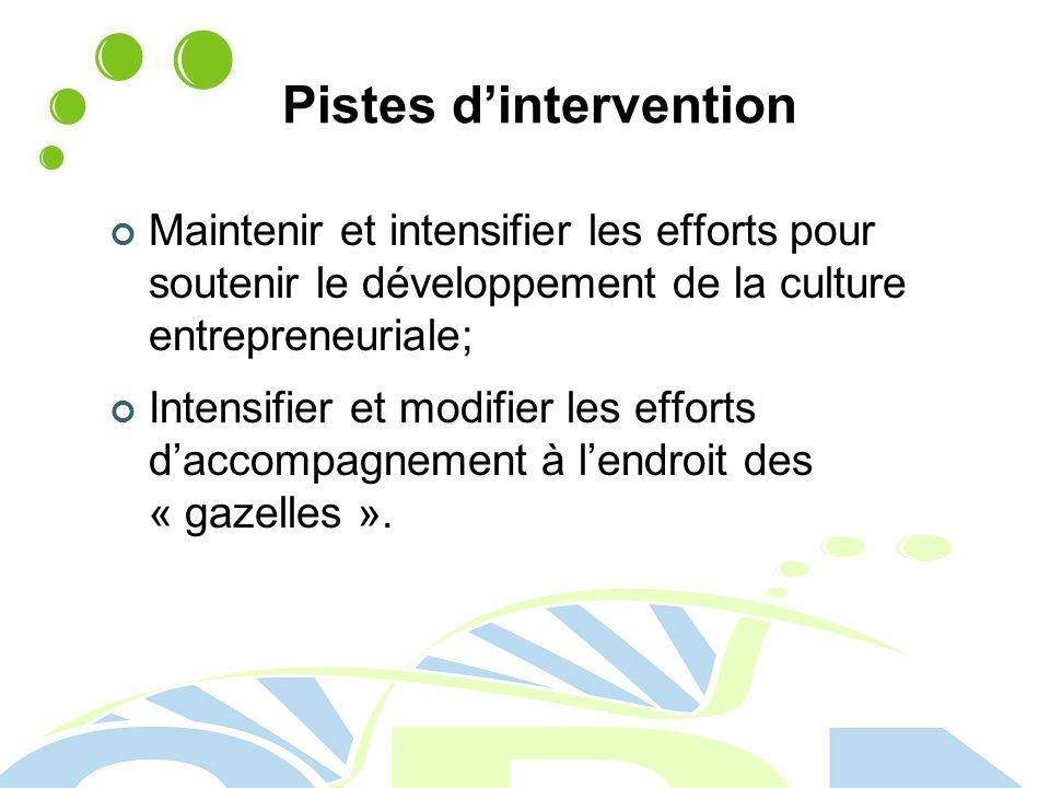 Pistes dintervention Maintenir et intensifier les efforts pour soutenir le développement de la culture entrepreneuriale; Intensifier et modifier les efforts daccompagnement à lendroit des « gazelles ».