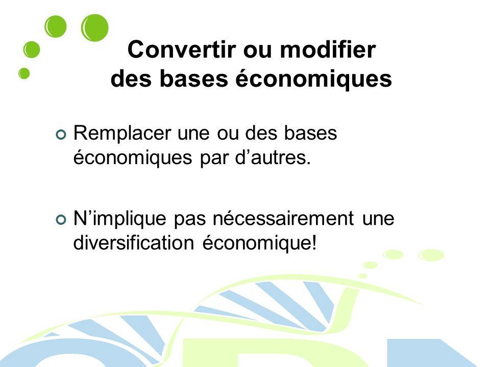Convertir ou modifier des bases économiques Remplacer une ou des bases économiques par dautres.