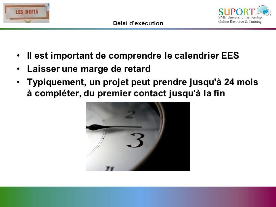 Délai d'exécution Il est important de comprendre le calendrier EES Laisser une marge de retard Typiquement, un projet peut prendre jusqu'à 24 mois à c