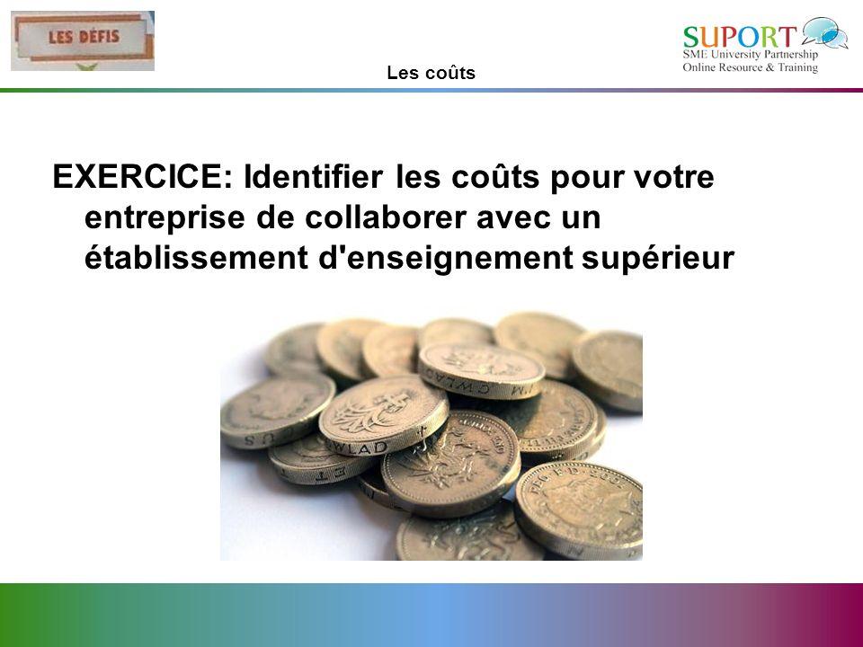 Les coûts EXERCICE: Identifier les coûts pour votre entreprise de collaborer avec un établissement d'enseignement supérieur