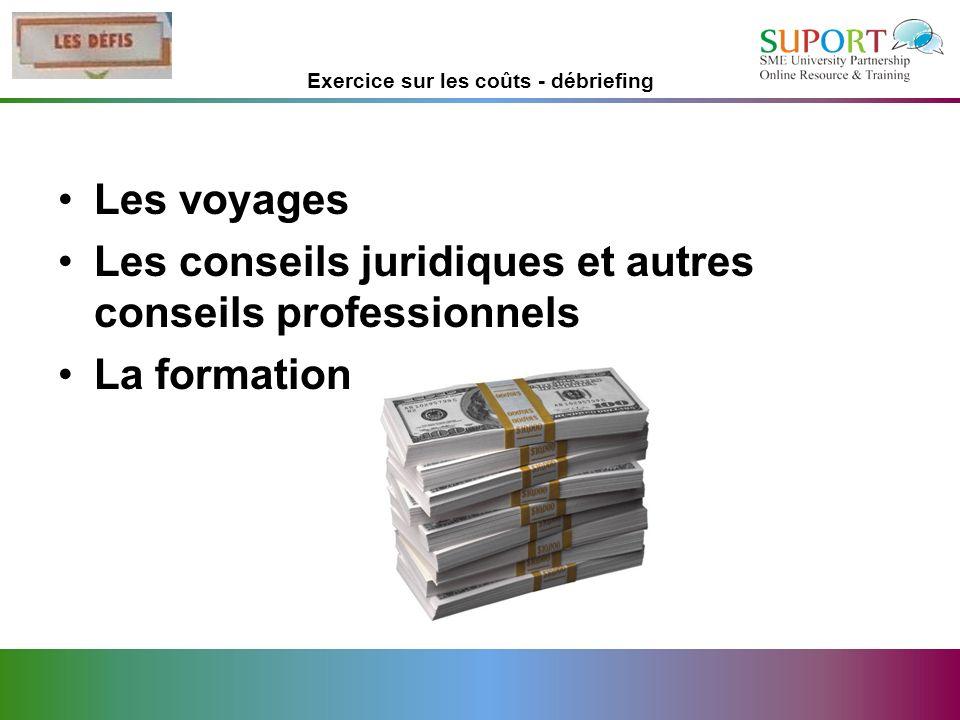 Exercice sur les coûts - débriefing Les voyages Les conseils juridiques et autres conseils professionnels La formation