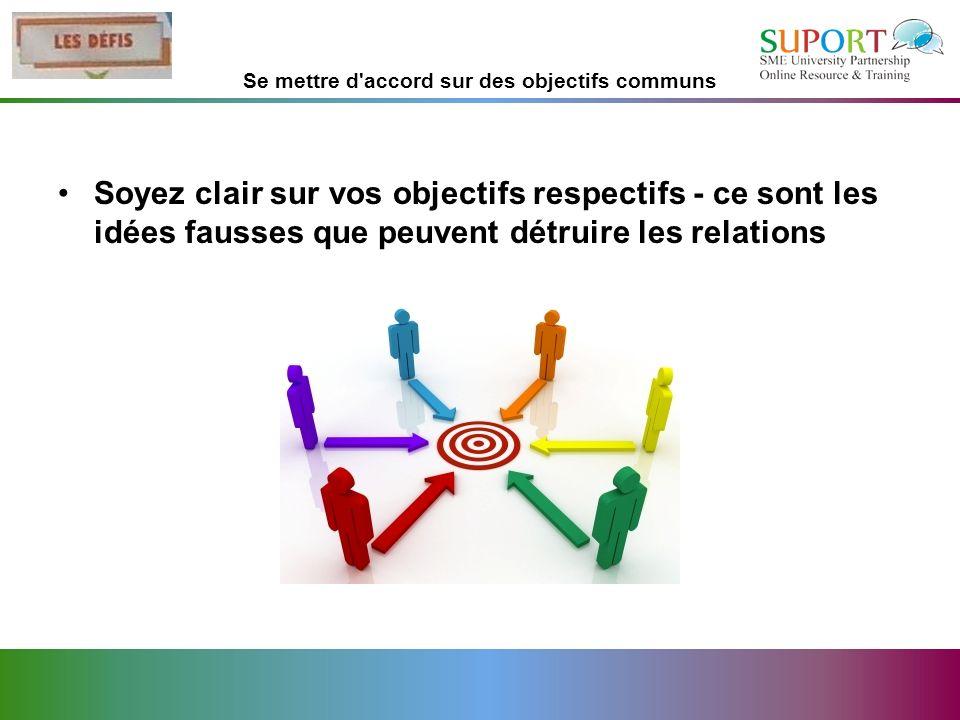 Se mettre d'accord sur des objectifs communs Soyez clair sur vos objectifs respectifs - ce sont les idées fausses que peuvent détruire les relations