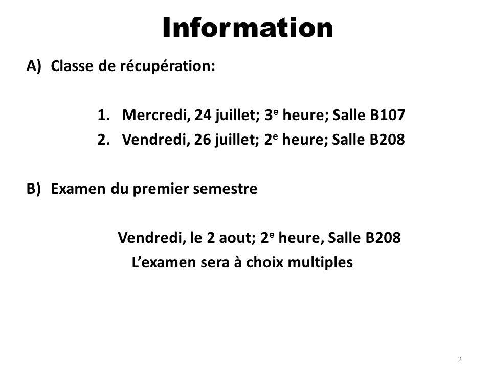A)Classe de récupération: 1.Mercredi, 24 juillet; 3 e heure; Salle B107 2.Vendredi, 26 juillet; 2 e heure; Salle B208 B)Examen du premier semestre Ven