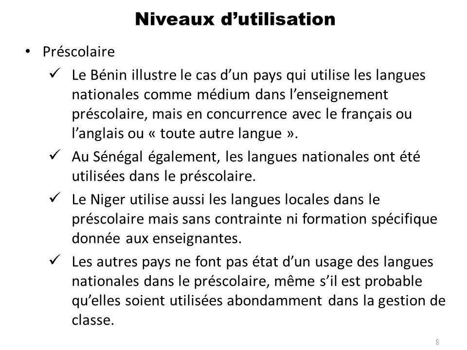 Fondamental Plusieurs pays utilisent les langues nationales au niveau du Fondamental: Niger, Burundi, Mali, Burkina Faso, Sénégal, Bénin et, à un degré très expérimental, Cameroun.