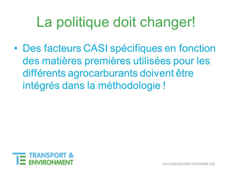 La politique doit changer! Des facteurs CASI spécifiques en fonction des matières premières utilisées pour les différents agrocarburants doivent être