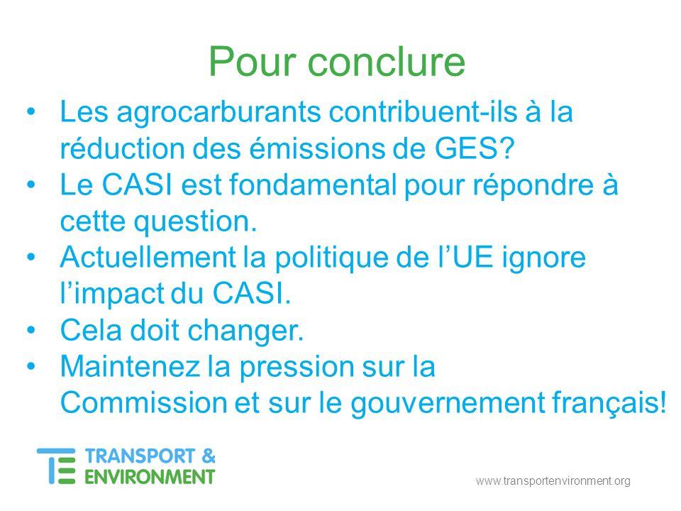Pour conclure Les agrocarburants contribuent-ils à la réduction des émissions de GES? Le CASI est fondamental pour répondre à cette question. Actuelle