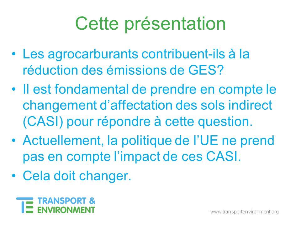www.transportenvironment.org Cette présentation Les agrocarburants contribuent-ils à la réduction des émissions de GES? Il est fondamental de prendre