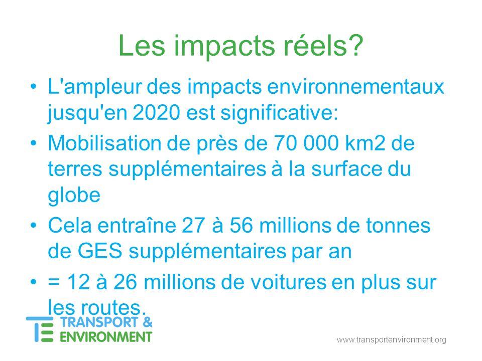 www.transportenvironment.org Les impacts réels? L'ampleur des impacts environnementaux jusqu'en 2020 est significative: Mobilisation de près de 70 000