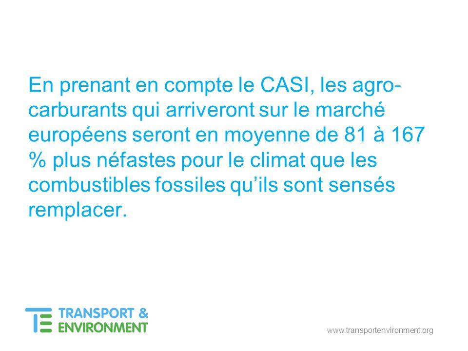 www.transportenvironment.org En prenant en compte le CASI, les agro- carburants qui arriveront sur le marché européens seront en moyenne de 81 à 167 %