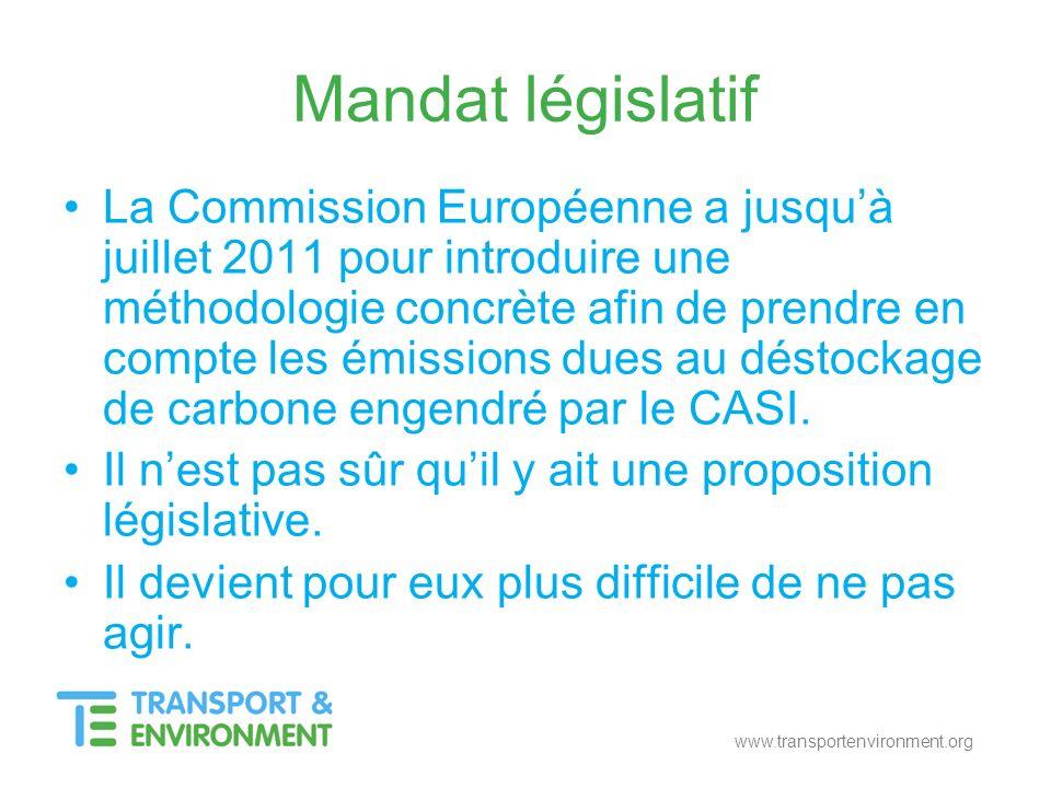 www.transportenvironment.org Mandat législatif La Commission Européenne a jusquà juillet 2011 pour introduire une méthodologie concrète afin de prendr