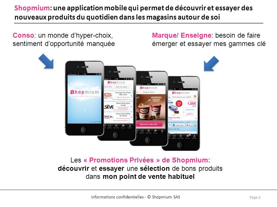 Page 2 Informations confidentielles - © Shopmium SAS Shopmium: une application mobile qui permet de découvrir et essayer des nouveaux produits du quot