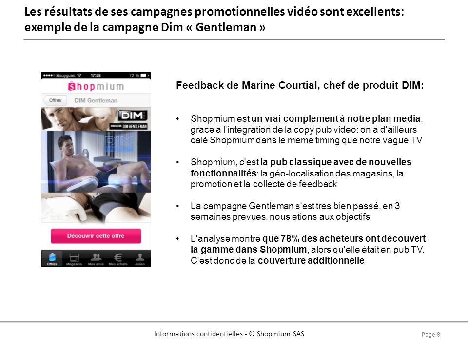 Page 8 Informations confidentielles - © Shopmium SAS Les résultats de ses campagnes promotionnelles vidéo sont excellents: exemple de la campagne Dim