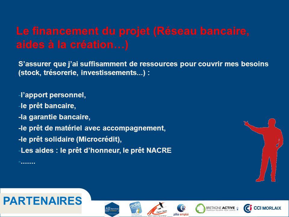 1.1 Titre niveau 2 PARTENAIRES Le financement du projet (Réseau bancaire, aides à la création…) Sassurer que jai suffisamment de ressources pour couvrir mes besoins (stock, trésorerie, investissements...) : -lapport personnel, -le prêt bancaire, -la garantie bancaire, -le prêt de matériel avec accompagnement, -le prêt solidaire (Microcrédit), -Les aides : le prêt dhonneur, le prêt NACRE -.......