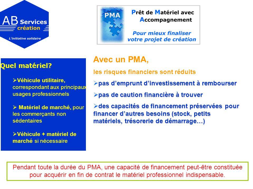 Avec un PMA, les risques financiers sont réduits pas demprunt dinvestissement à rembourser pas de caution financière à trouver pas de caution financiè