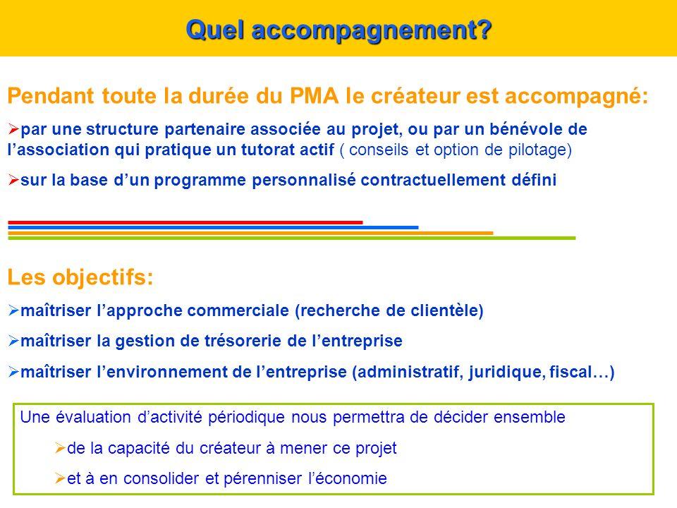 Pendant toute la durée du PMA le créateur est accompagné: par une structure partenaire associée au projet, ou par un bénévole de lassociation qui prat