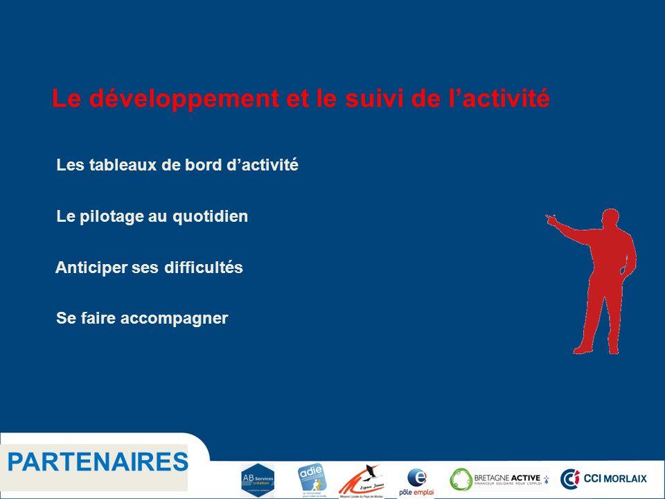 1.1 Titre niveau 2 PARTENAIRES Le développement et le suivi de lactivité Les tableaux de bord dactivité Le pilotage au quotidien Anticiper ses difficu