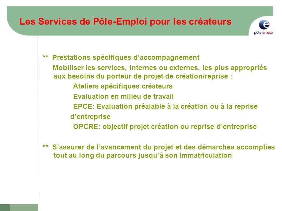Les Services de Pôle-Emploi pour les créateurs ** Prestations spécifiques daccompagnement Mobiliser les services, internes ou externes, les plus appro