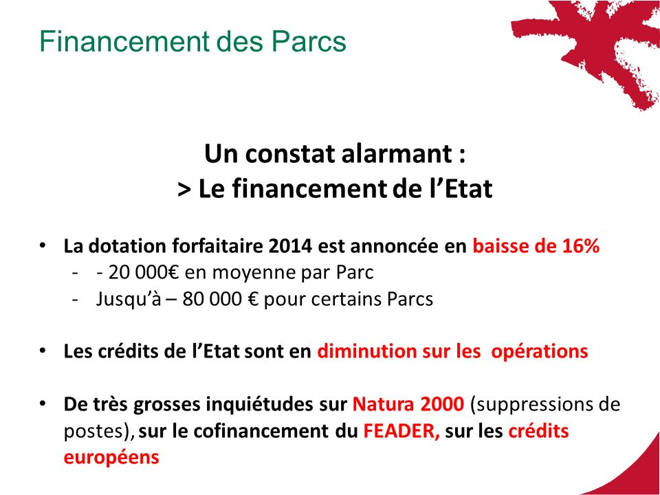 Un constat alarmant : > Le financement de lEtat La dotation forfaitaire 2014 est annoncée en baisse de 16% -- 20 000 en moyenne par Parc -Jusquà – 80 000 pour certains Parcs Les crédits de lEtat sont en diminution sur les opérations De très grosses inquiétudes sur Natura 2000 (suppressions de postes), sur le cofinancement du FEADER, sur les crédits européens