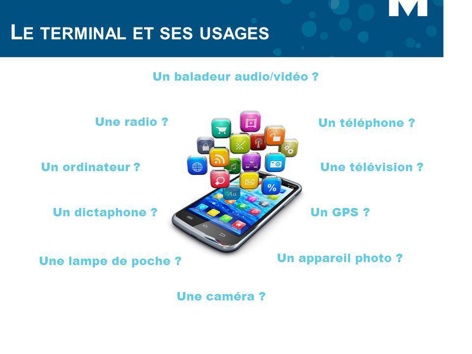 L E TERMINAL ET SES USAGES Un téléphone ? Un baladeur audio/vidéo ? Une lampe de poche ? Une caméra ? Un GPS ? Un appareil photo ? Un ordinateur ?Une