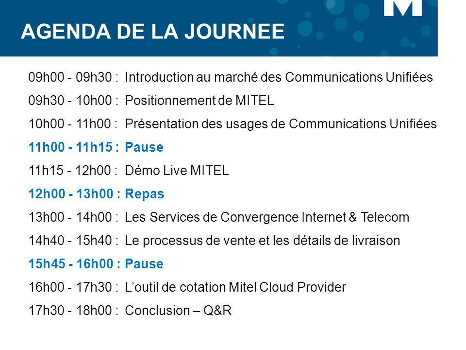 AGENDA DE LA JOURNEE 09h00 - 09h30 : Introduction au marché des Communications Unifiées 09h30 - 10h00 : Positionnement de MITEL 10h00 - 11h00 : Présen
