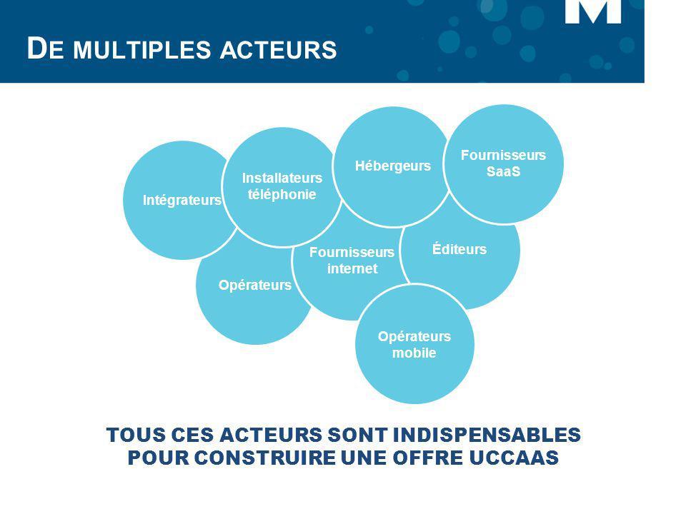 D E MULTIPLES ACTEURS Opérateurs Fournisseurs internet Éditeurs Intégrateurs Installateurs téléphonie Hébergeurs Fournisseurs SaaS Opérateurs mobile T