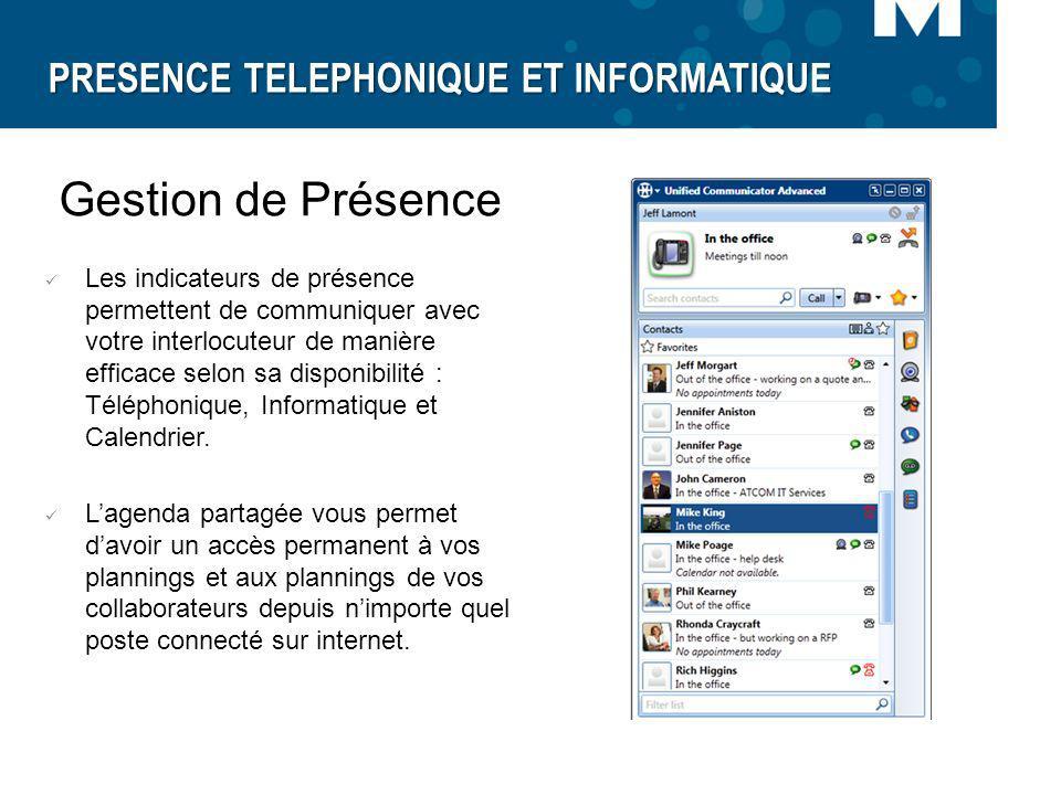 PRESENCE TELEPHONIQUE ET INFORMATIQUE Gestion de Présence Les indicateurs de présence permettent de communiquer avec votre interlocuteur de manière ef