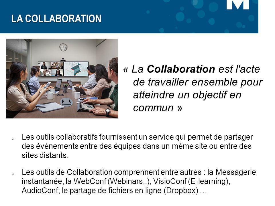 « La Collaboration est l'acte de travailler ensemble pour atteindre un objectif en commun » LA COLLABORATION o Les outils collaboratifs fournissent un