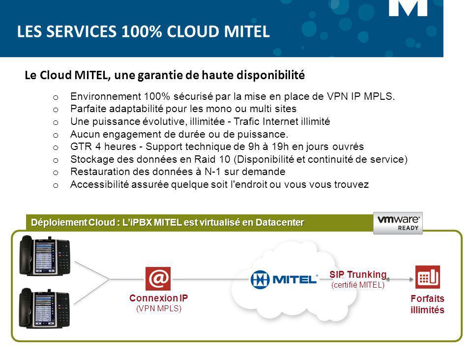 SIP Trunking (certifié MITEL) Connexion IP (VPN MPLS) Forfaits illimités Déploiement Cloud : LiPBX MITEL est virtualisé en Datacenter Le Cloud MITEL,