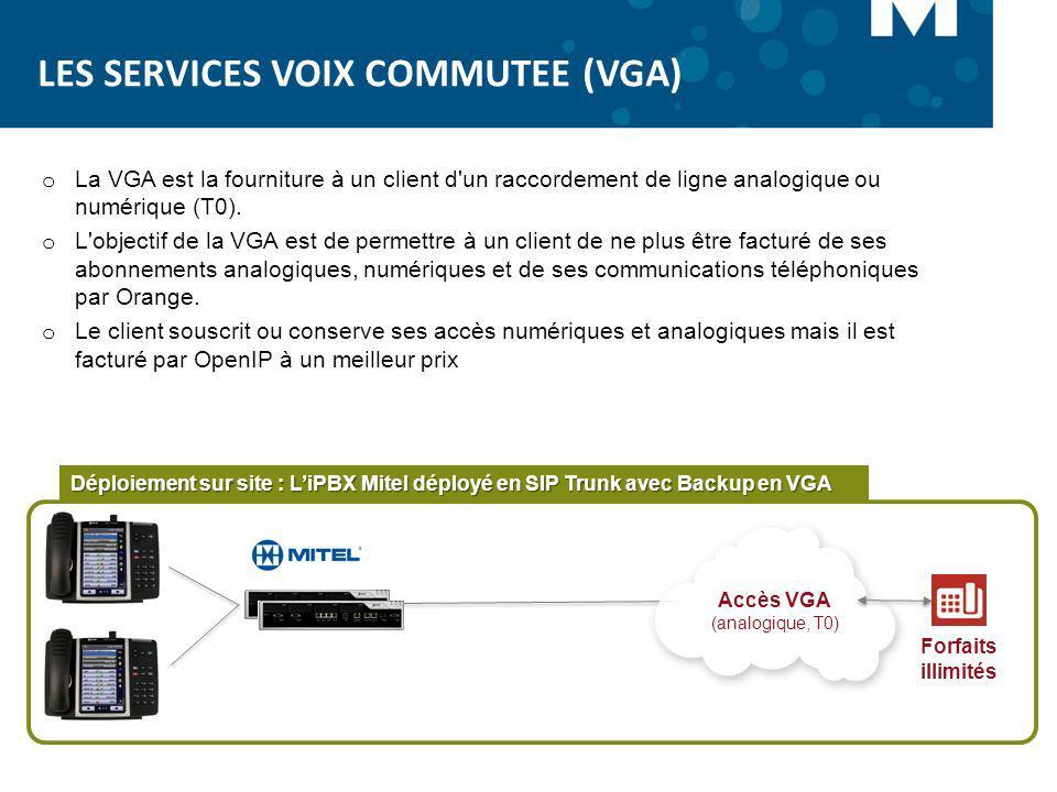 LES SERVICES VOIX COMMUTEE (VGA) o La VGA est la fourniture à un client d'un raccordement de ligne analogique ou numérique (T0). o L'objectif de la VG