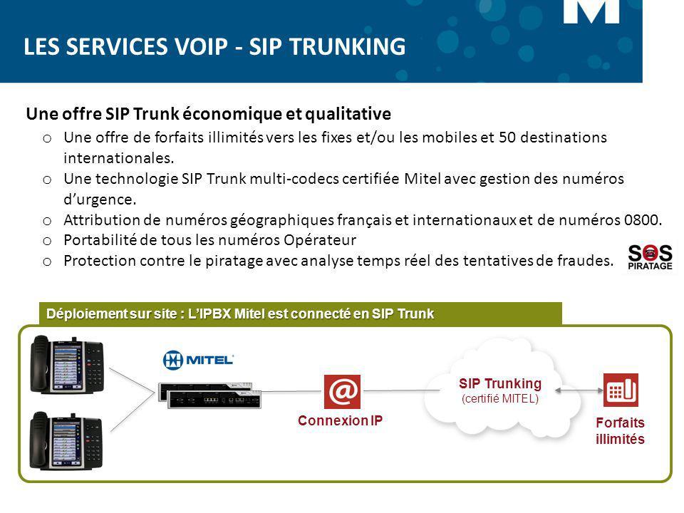 LES SERVICES VOIP - SIP TRUNKING Connexion IP Forfaits illimités Déploiement sur site : LIPBX Mitel est connecté en SIP Trunk SIP Trunking (certifié M
