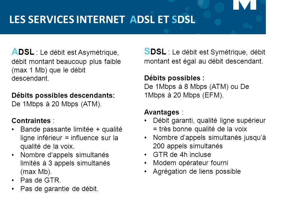 LES SERVICES INTERNET ADSL ET SDSL S DSL : Le débit est Symétrique, débit montant est égal au débit descendant. Débits possibles : De 1Mbps à 8 Mbps (
