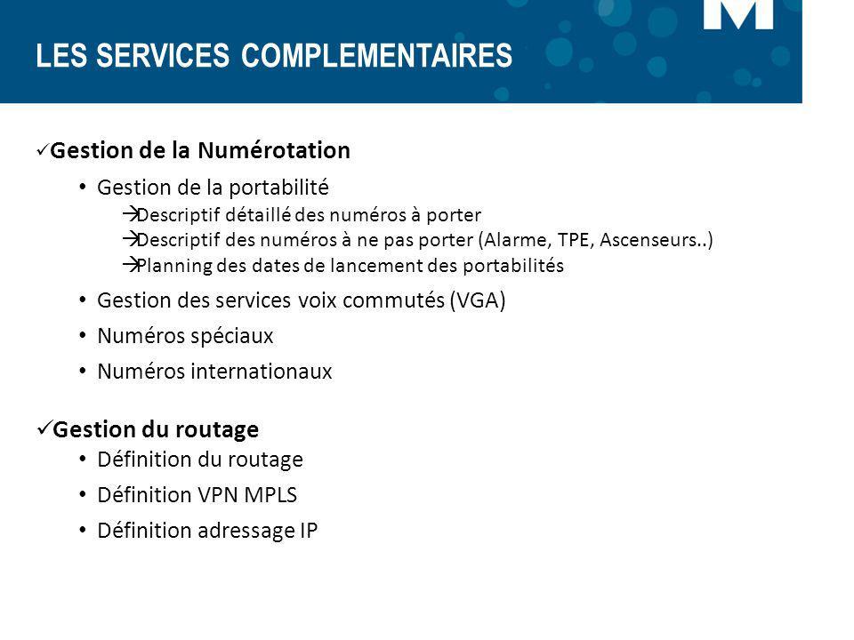 LES SERVICES COMPLEMENTAIRES Gestion de la Numérotation Gestion de la portabilité Descriptif détaillé des numéros à porter Descriptif des numéros à ne