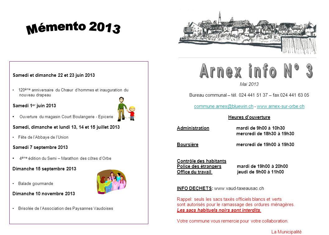 Mai 2013 Bureau communal – tél. 024 441 51 37 – fax 024 441 63 05 commune.arnex@bluewin.chcommune.arnex@bluewin.ch - www.arnex-sur-orbe.chwww.arnex-su