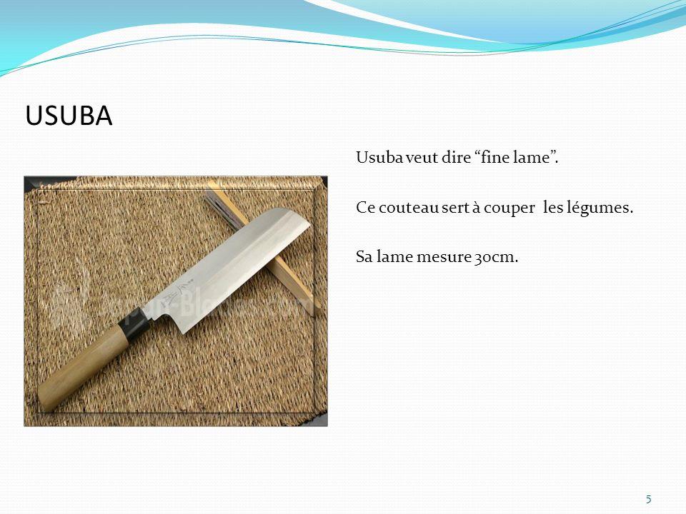 Menkiri bocho Le M enriki bocho ou le Udon kiri est un couteau utilisé pour couper les nouilles udon.