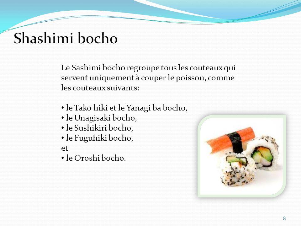 Tako Hiki 9 Yanagi ba Le Yanagi ba lui sert à préparer le sushi et le couper en fines tranches.